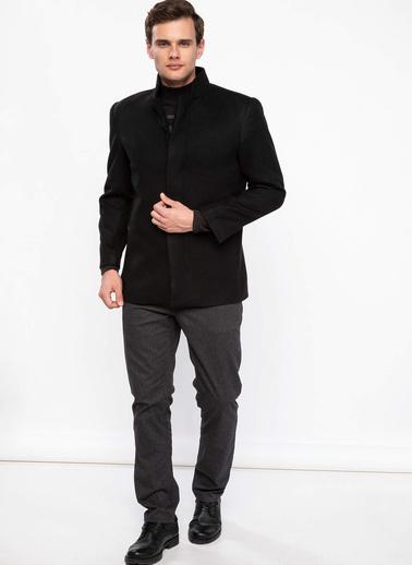 DeFacto Dik Yakalı Düğmeli Slim Fit Kaban Siyah